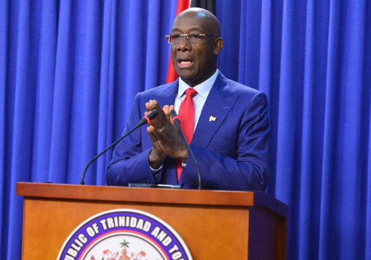 TOUGHER MEASURES: Prime Minister Dr Keith Rowley speaks at a press conference on Monday at the Diplomatic Centre, St Ann's.  —Photo: ISHMAEL SALANDY
